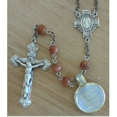Rosary, Swarvaski Sterling Silver with Wood Beads