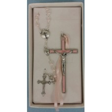 Rosary & Cross Baby's baptism Shell Set - Pink